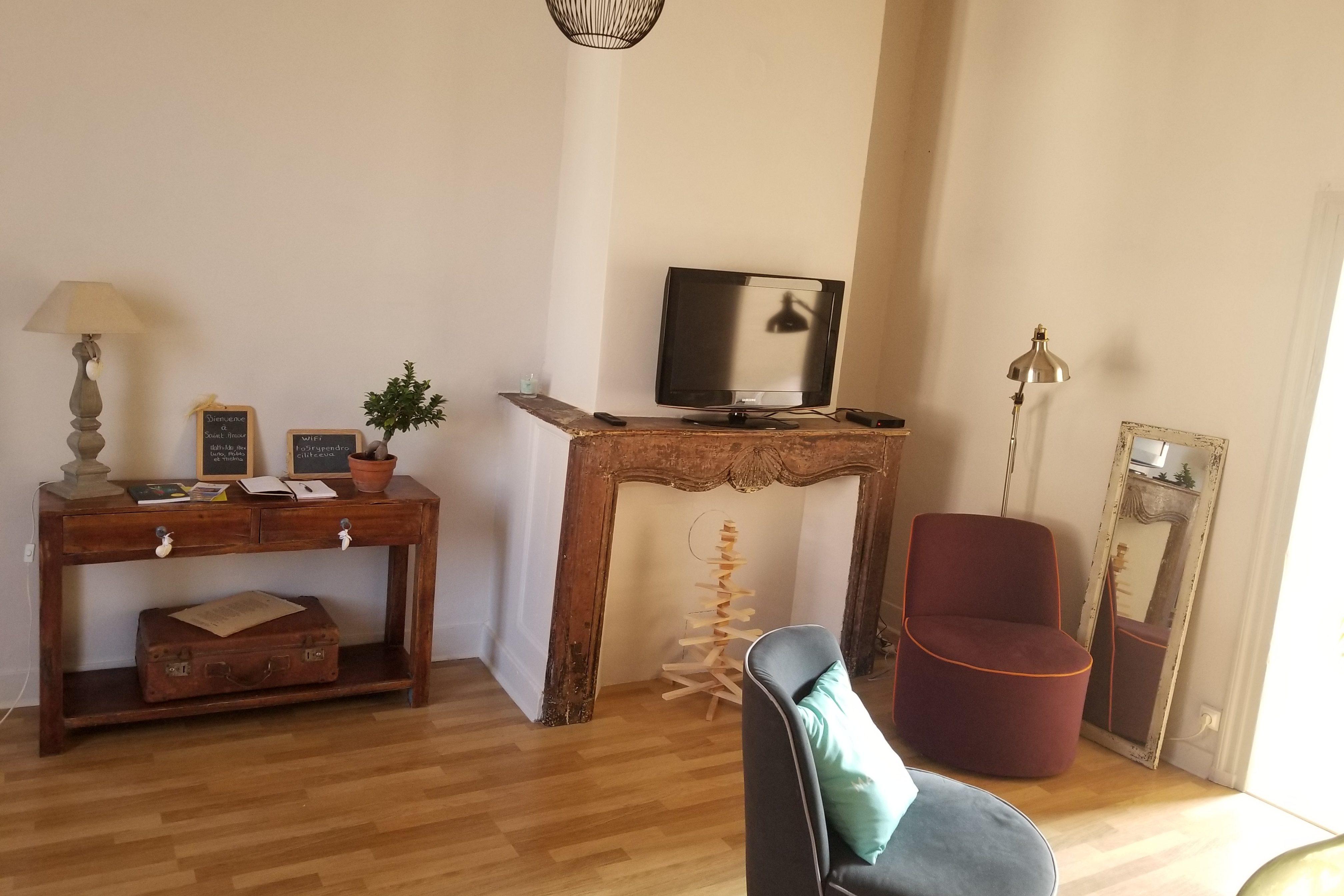 gite à saint amour, le salon avec tv, wifi, netflix
